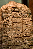 Rune stone in the viking Museum Haithabu, near Schleswig, Schleswig_Holstein, Germany, Europe