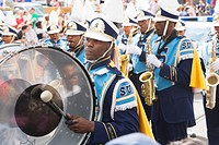 Brass band at the Carnival Parade on Mardi Gras, French Quarter, New Orleans, Louisiana, USA