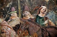 Detail from 14thC The Triumph of Death by Bonamico di Martino da Firenze Buffalmacco in the Camposanto, Pisa, Tuscany, Italy