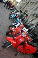 England, Bath & North East Somerset, Bath, Scooters outside a bar in Bath.