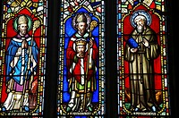 England, Northumberland, Farne Islands, Stained glass in a church on the Farne Islands, part of the Northumberland Heritage Coast.