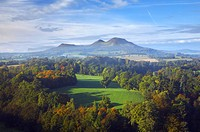 Scotland, Scottish Borders, Melrose, The Eildon Hills, viewed in Autumn from the famous viewpoint of Scott´s View near Newton St Boswells.