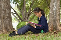 fort lauderdale, florida, united states of america, a girl doing school work in the park