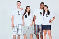 teenage couples wearing t_shirts with the message ´love´