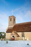 England, Norfolk, Thurton, St Ethelbert Church at Thurton in Norfolk following a winter snowfall.