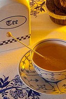 Steaming hot tea in a traditional east frisian cup