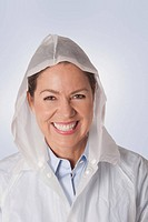 Woman wearing a raincoat