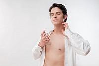 Man applying perfume