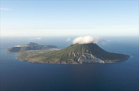 Aerial view of Sint Eustatius and the Quill