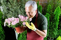 Man smelling flowers in a greenhouse