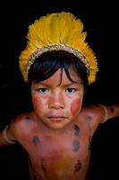 Portrait of a Xingu Indian in the Aamzone, Brazil