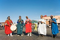 Morocco - Musicians at Marrakesh´s famous square Djemaa El Fna