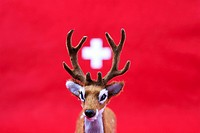 A model stag with the white cross of Switzerland between its antlers