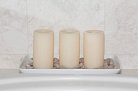 Candles on a bathroom sink