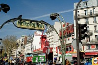 Metro Blanche Station. Place Blanche and Boulevard de Clichy, Pigalle. The Moulin Rouge can be seen as part of  this colourful area, considered the ga...