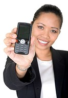 Asian business woman showing mobile phone over a white background