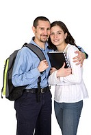 couple of happy students over a white background