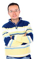 casual man portrait smiling _ isolated over a white background