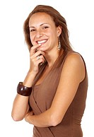 casual woman smiling in black isolated over a white background