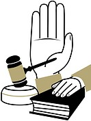 A montage illustration of a hand taking an oath, a hand on a bible, and a judges gavel