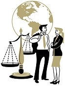 A man and woman talking in front of the globe and Scales of Justice