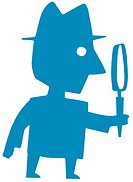 Man holding large magnifying glass
