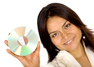 business woman holding data in a cd rom _ isolated over a white background