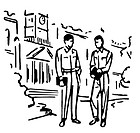 Two men standing in front of an educational institution