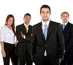Business man leading a group isolated over white
