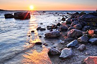 Sunset at the rocky shore of Georgian Bay, Canada. Awenda provincial park.