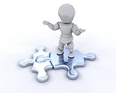 3D render of someone stood on connected jigsaw pieces