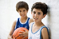 Young basketball players, portrait