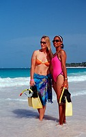 Two female scin diver on the beach, Punta Cana Caribbean, Dominican Republic