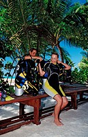 Diving Course, Instructor and Student, Indian Ocean, Medhufushi, Meemu Atoll, Maldives