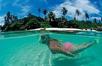 Skin Diving at Maldives, Indian Ocean, Medhufushi, Meemu Atoll, Maldives