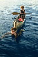 Solomon Boys in Outrigger Canoe, Solomon Islands
