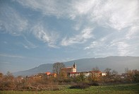 Lagran village by Cantabria Range mountain, Alava, Basque country, Spain
