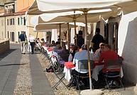 Bastioni Marco Polo ALGHERO SARDINIA Old city walls promenade diners in open air restaurant