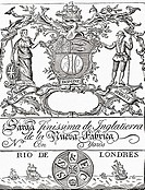Trade Label of the South Sea Company  From the book Short History of the English People by J R  Green, published London 1893