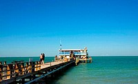 Pier and a restaurant at seaside, Rod and Reel Fishing Pier, Holmes Beach, Anna Maria Island, Florida, USA