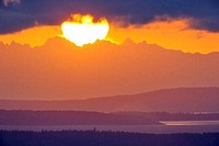 Sunrise over an island, Saanich Peninsula, Vancouver Island, British Columbia, Canada