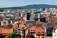 Overview of old town and Saint Christoph cathedral, viewed from citadel  Belfort city, Belfort territory, Franche Comte region, Europe