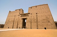 the well preserved cult temple of Horus in Edfu Egypt