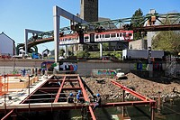 D-Wuppertal, Wupper, Bergisches Land, North Rhine-Westphalia, D-Wuppertal-Sonnborn, restauration of the Wuppertal suspension railway, building site, c...