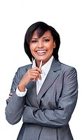 Smiling businesswoman holding a pen against a white background
