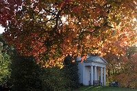 King William´s Temple under autumn leaves, Kew Gardens, UNESCO World Heritage Site, Greater London, England, United Kingdom, Europe