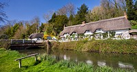 Thatched cottages beside the River Test at Wherwell, Hampshire, England, United Kingdom, Europe