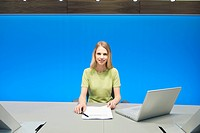 Businesswoman working in a conference room