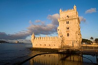 Overview of Tower of Belem at dawn, in Lisboa city, next to the mounth of Tagus river in Atlantic Ocean  Portugal