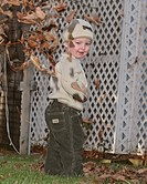 scenic, boy, leaves, autumn, playing, young